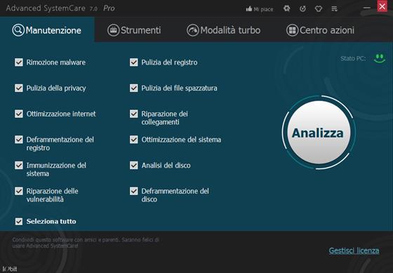 Скриншот программы advanced systemcare pro