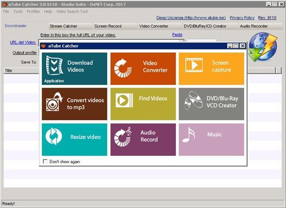 Скриншот программы atube catcher