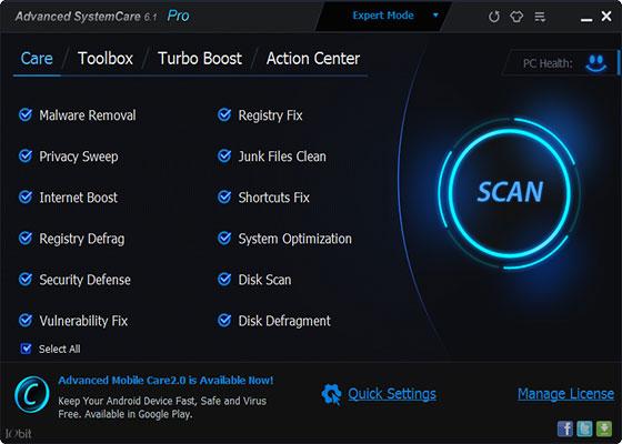 Скриншот программы advanced systemcare