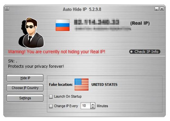 Скриншот программы auto hide ip