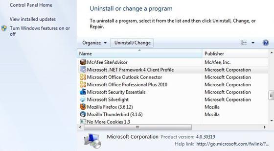 Скриншот программы microsoft.net framework