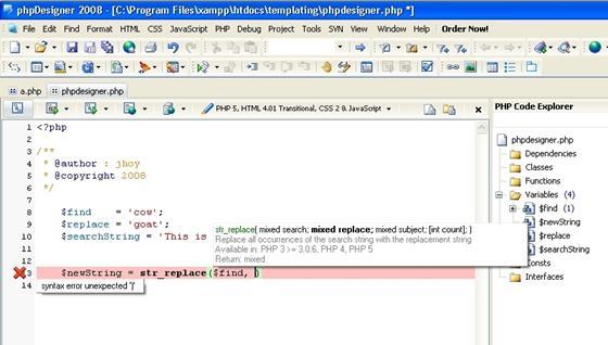 Скриншот программы phpdesigner