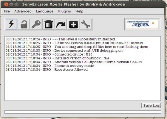 Скриншот программы flashtool