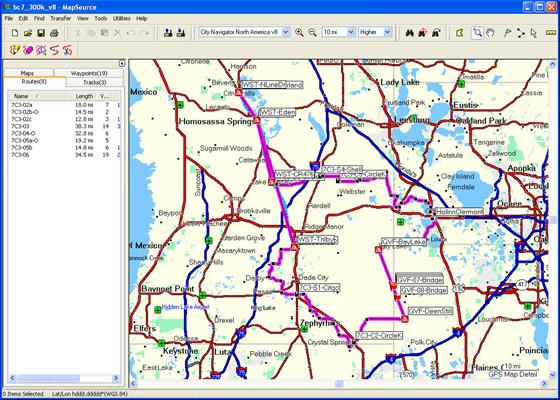 Скриншот программы mapsource