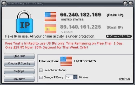 Скриншот программы hide ip easy