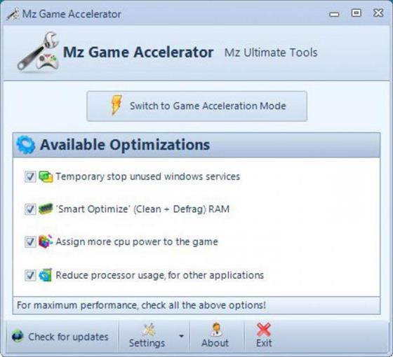 Скриншот программы mz game accelerator