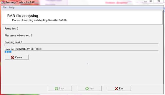 Скриншот программы rar recovery toolbox