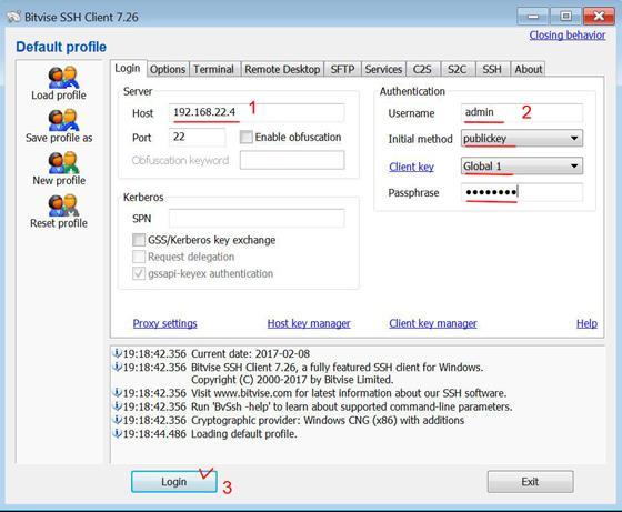 Скриншот программы bitvise ssh client