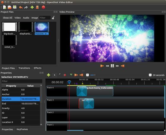 Скриншот программы openshot video editor
