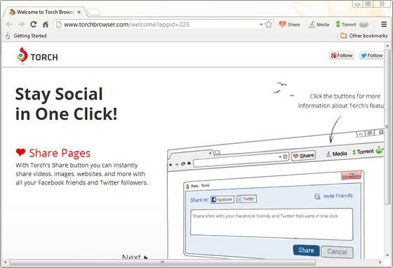 Скриншот программы torch browser