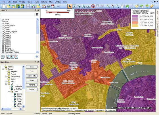 Скриншот программы mapinfo professional