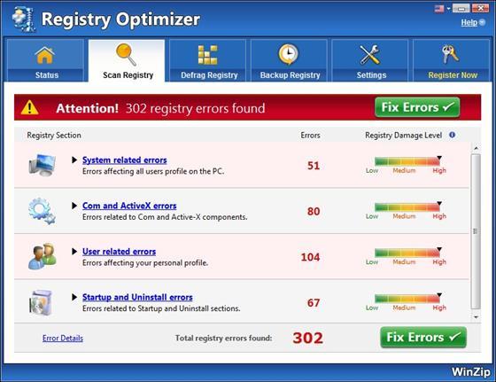Скриншот программы winzip registry optimizer