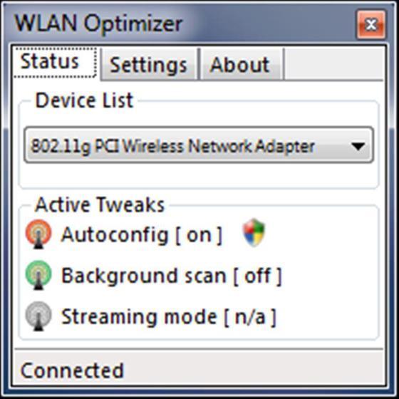Скриншот программы wlan optimizer
