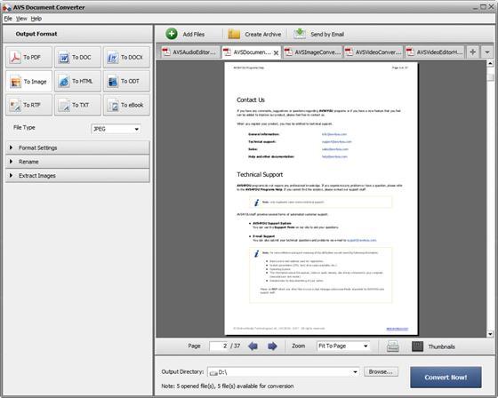 Скриншот программы avs document converter