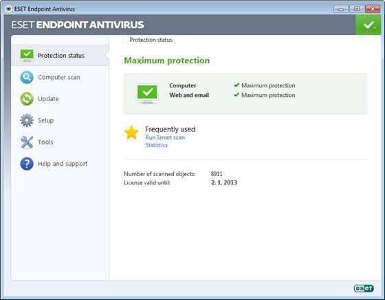 Скриншот программы eset endpoint antivirus