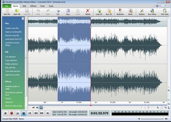 Скриншот программы wavepad