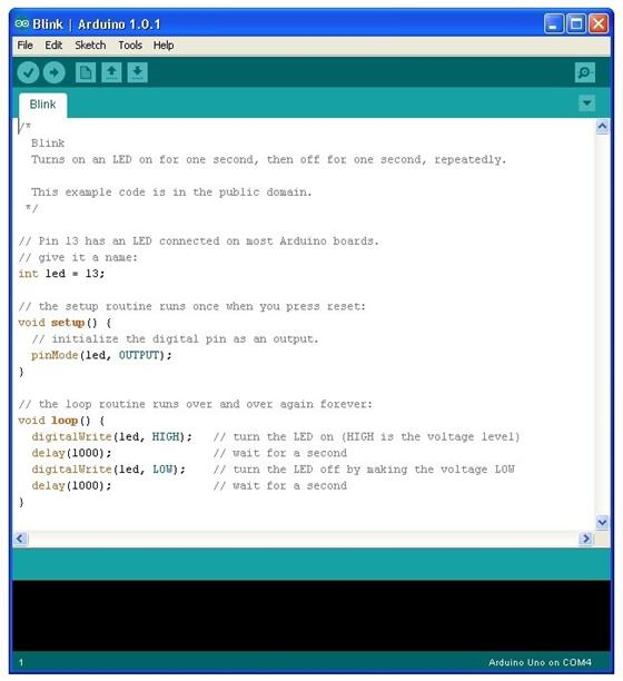 Скриншот программы arduino