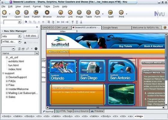Скриншот программы nvu