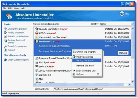 Скриншот программы absolute uninstaller для windows 10