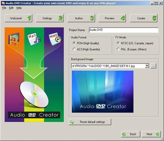 Скриншот программы audio dvd creator