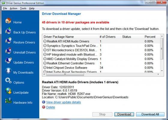 Скриншот программы driver genius professional