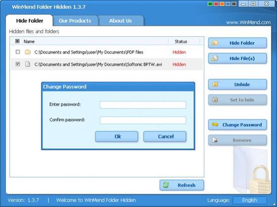 Скриншот программы winmend folder hidden