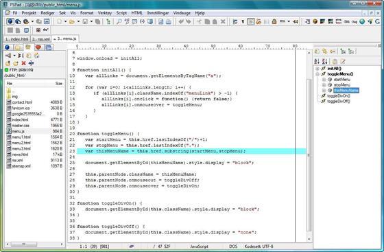 Скриншот программы pspad