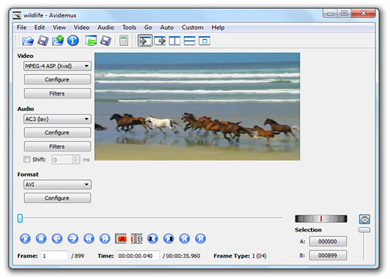 Скриншот программы avidemux 2.6
