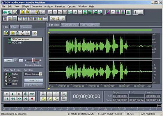 Скриншот программы adobe audition
