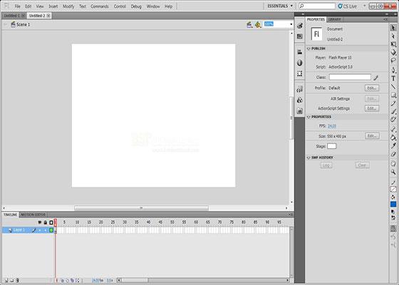 Скриншот программы adobe flash cs5 professional