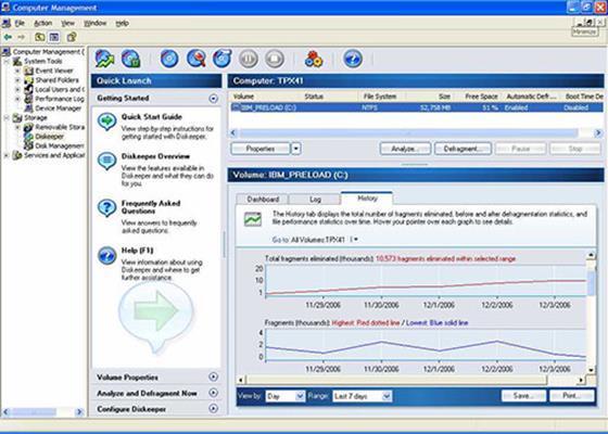 Скриншот программы diskeeper для windows 7