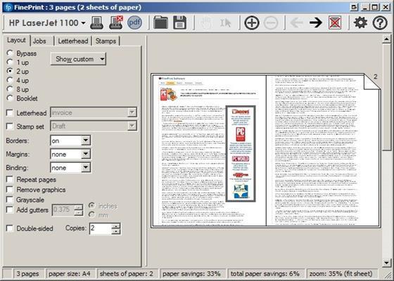 Скриншот программы fineprint