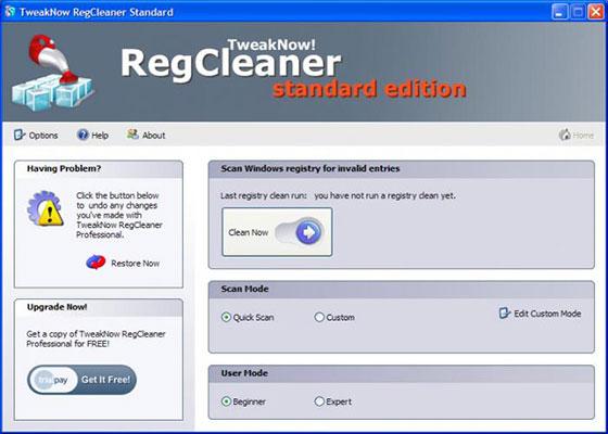 Скриншот программы tweaknow regcleaner