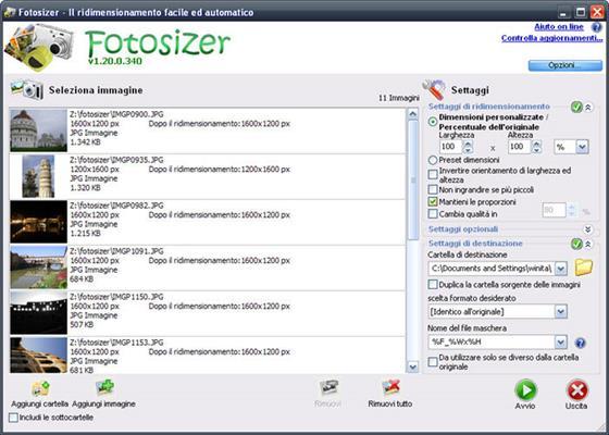 Скриншот программы fotosizer
