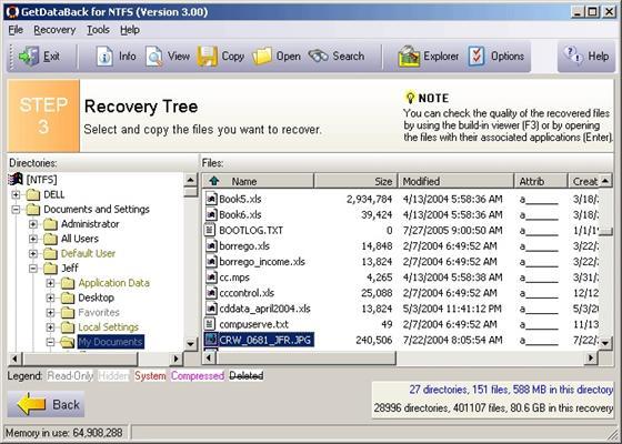 Скриншот программы getdataback