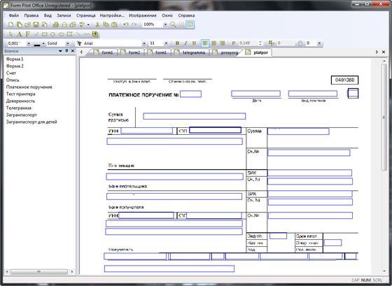 Скриншот программы form pilot office