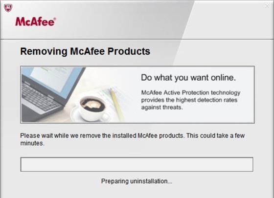 Скриншот программы mcafee consumer product removal tool