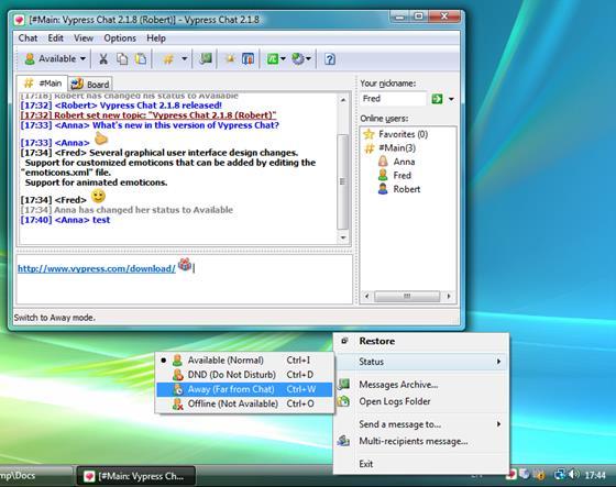 Скриншот программы vypress chat