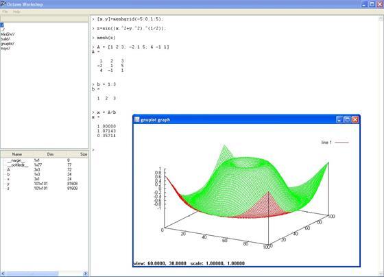 Скриншот программы octave