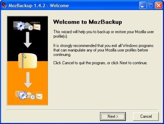 Скриншот программы mozbackup