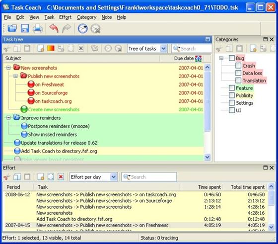 Скриншот программы task coach