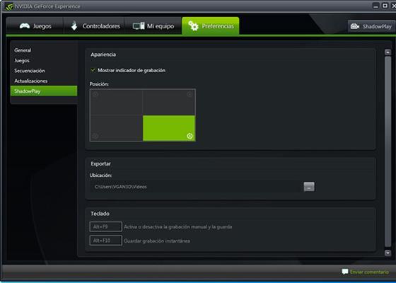 Скриншот программы nvidia geforce experience