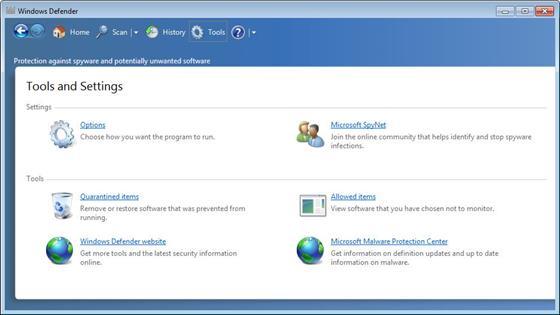 Скриншот программы windows defender
