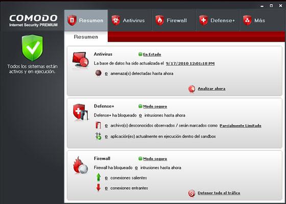 Скриншот программы comodo internet security