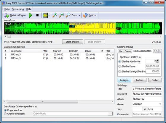 Скриншот программы mp3 cutter