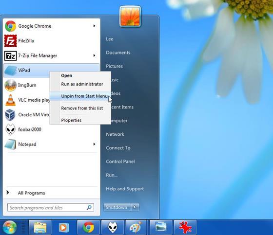 Скриншот программы vistart