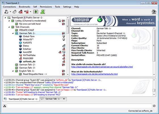 Скриншот программы teamspeak