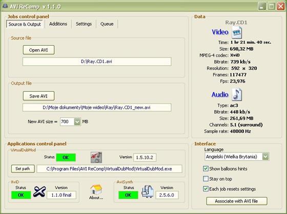 Скриншот программы avi recomp