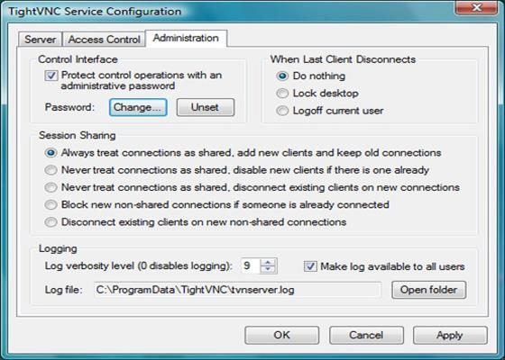 Скриншот программы tightvnc