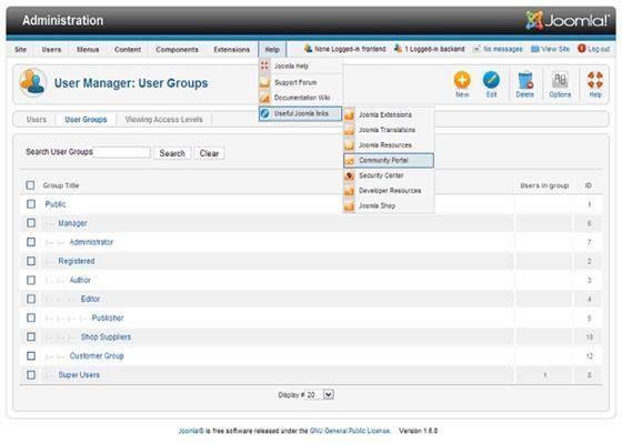 Скриншот программы joomla